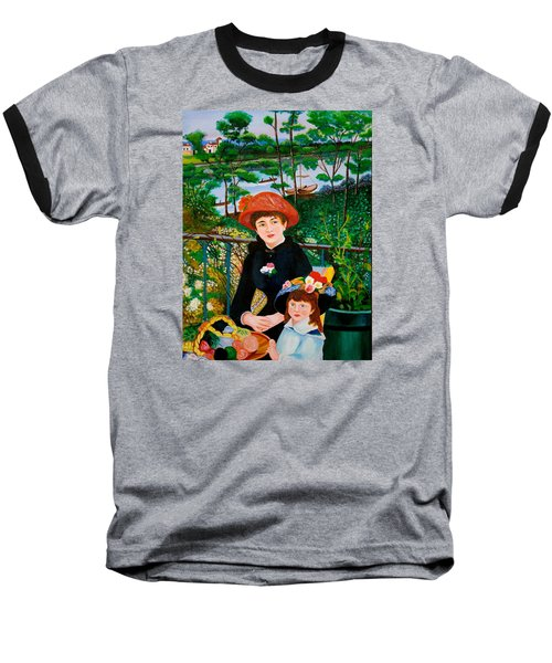Baseball T-Shirt featuring the painting Version Of Renoir's Two Sisters On The Terrace by Cyril Maza