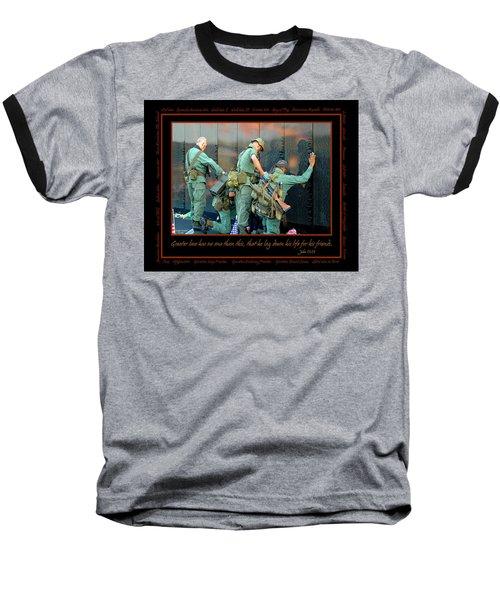 Veterans At Vietnam Wall Baseball T-Shirt
