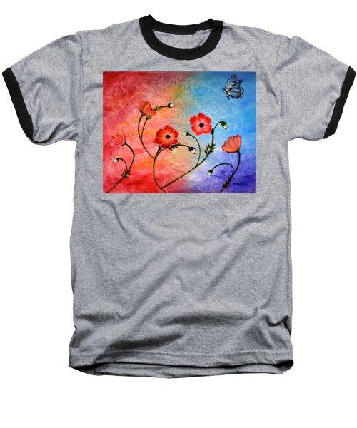 Vibrant Poppies Baseball T-Shirt