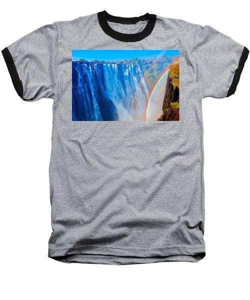 Victoria Falls Double Rainbow Baseball T-Shirt by Jeff at JSJ Photography