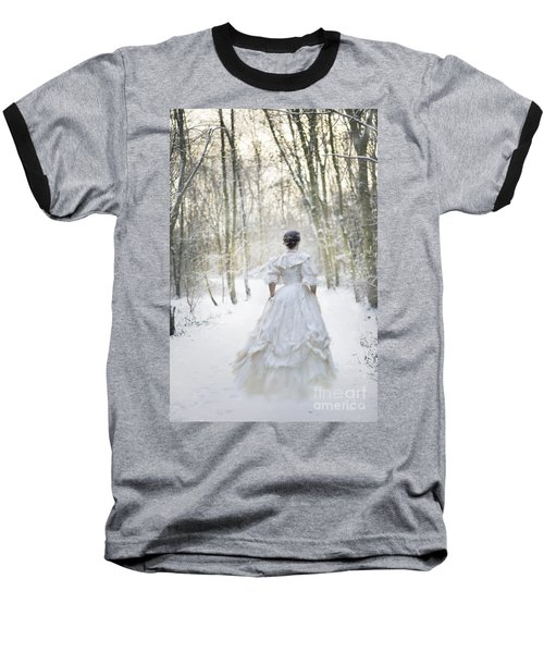 Victorian Woman Running Through A Winter Woodland With Fallen Sn Baseball T-Shirt by Lee Avison
