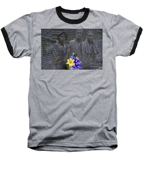 Vietnam Veteran Wall And Three Soldiers Memorial Collage Washington Dc_2 Baseball T-Shirt