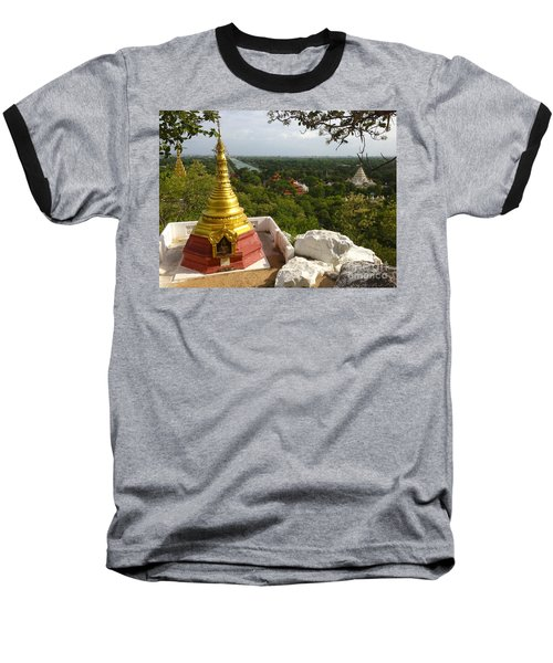 Baseball T-Shirt featuring the photograph View Over Ancient City Of Mandalay Aungmyaythazan From Mandalay Hill Mandalay Burma by Ralph A  Ledergerber-Photography