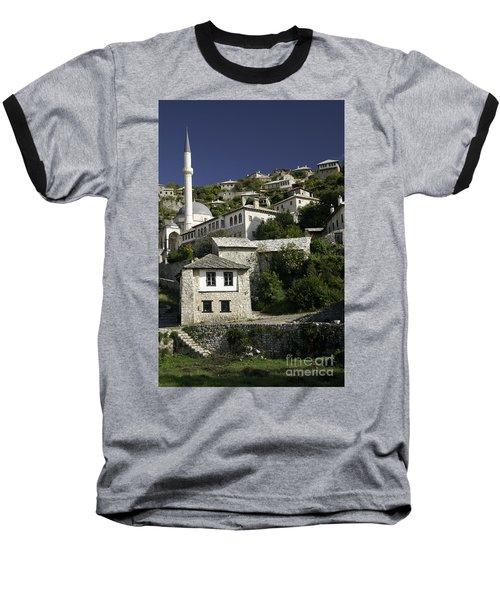 views of pocitelj in Bosnia Hercegovina with minaret bridge and river Baseball T-Shirt