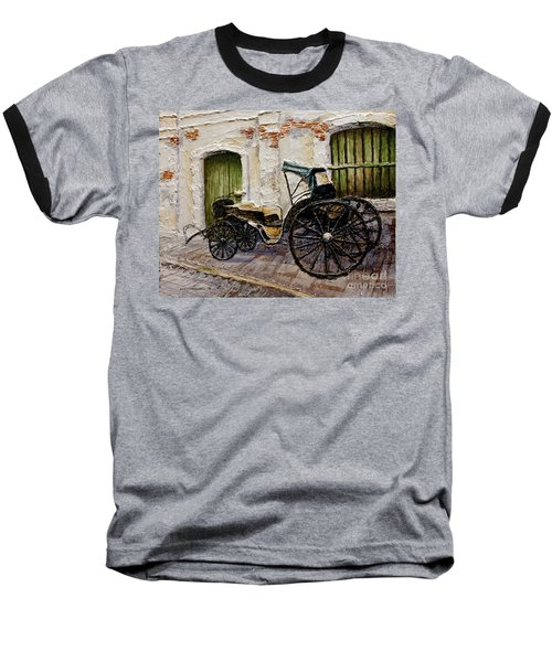 Baseball T-Shirt featuring the painting Vigan Carriage 2 by Joey Agbayani