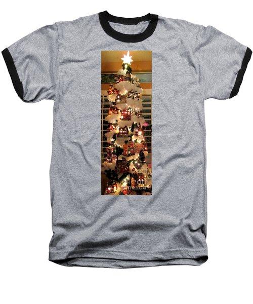 Village Christmas Tree Baseball T-Shirt by Randall Weidner