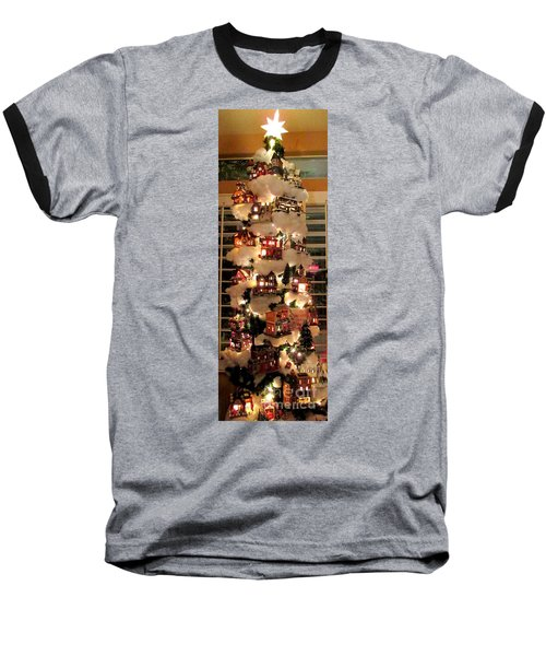 Village Christmas Tree Baseball T-Shirt