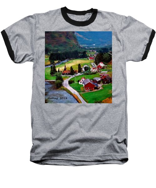 Baseball T-Shirt featuring the painting Village In The Mountains by Bruce Nutting