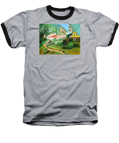 Baseball T-Shirt featuring the painting Village In The Mountains  by Magdalena Frohnsdorff