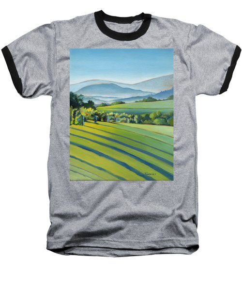 Vineyard Blue Ridge On Buck Mountain Road Virginia Baseball T-Shirt by Catherine Twomey