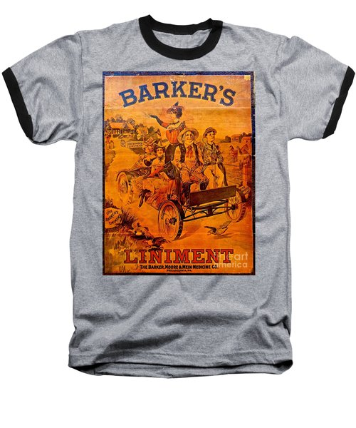 Vintage Ad Barker's Liniment Baseball T-Shirt by Saundra Myles