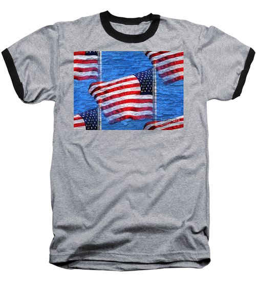 Vintage Amercian Flag Abstract Baseball T-Shirt by Judy Palkimas