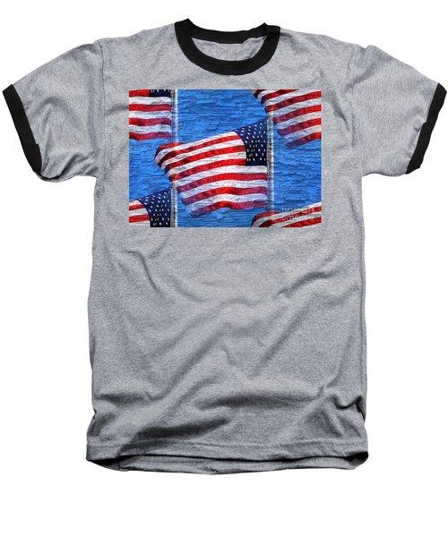 Vintage Amercian Flag Abstract Baseball T-Shirt