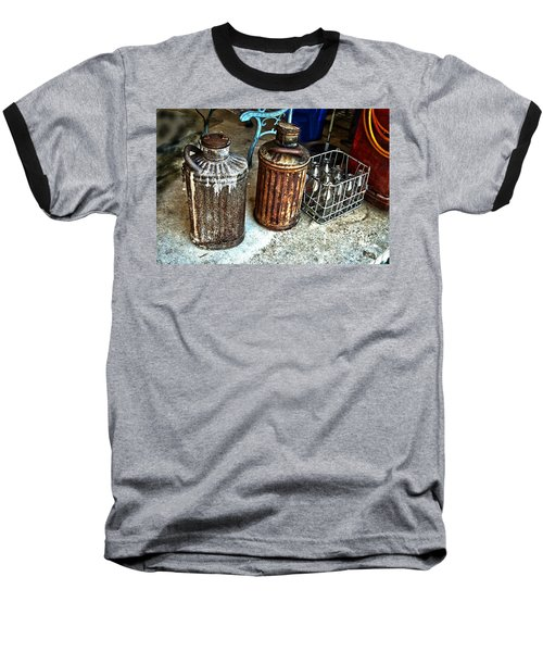 Baseball T-Shirt featuring the photograph Hdr Vintage Art  Cans And Bottles by Lesa Fine