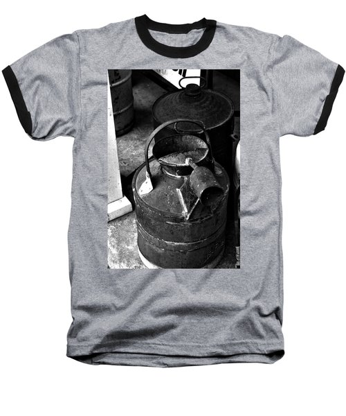 Baseball T-Shirt featuring the photograph Vintage B/w Galvanized Container by Lesa Fine