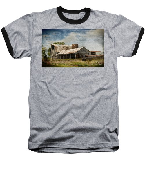 Barn -vintage Barn With Brick Silo - Luther Fine Art Baseball T-Shirt by Luther Fine Art
