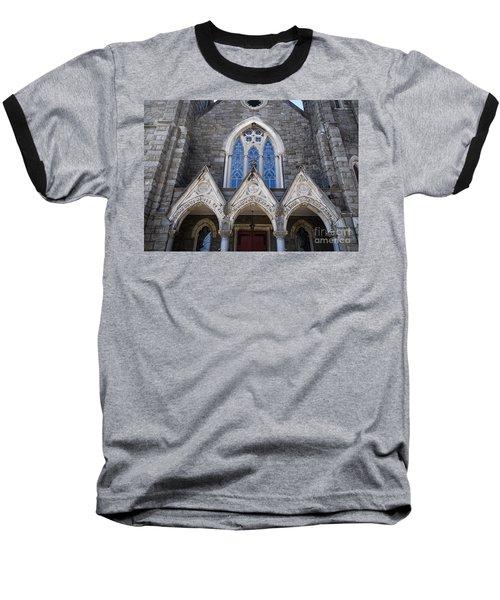 Baseball T-Shirt featuring the digital art Vintage Block Church Circa 1901 by Melissa Messick