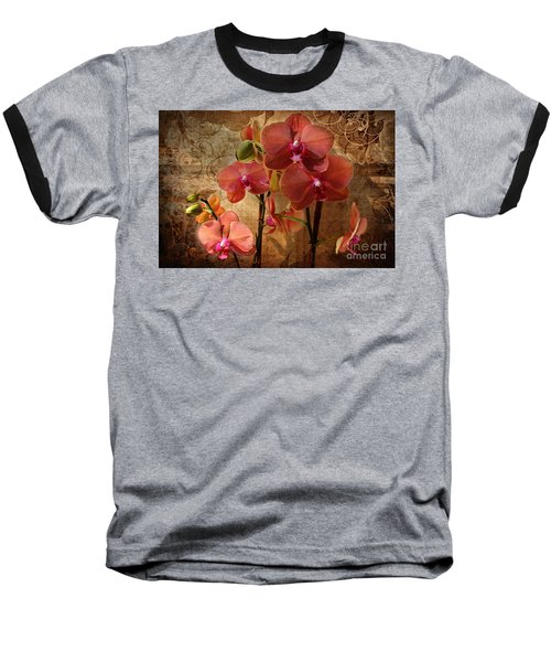 Vintage Burnt Orange Orchids Baseball T-Shirt