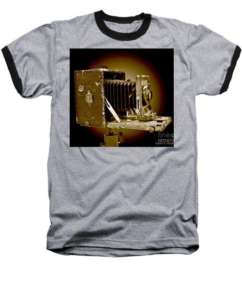 Vintage Camera In Sepia Tones Baseball T-Shirt by Carol F Austin