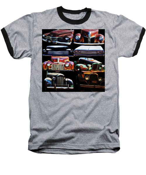 Vintage Cars Collage 2 Baseball T-Shirt by Cathy Anderson