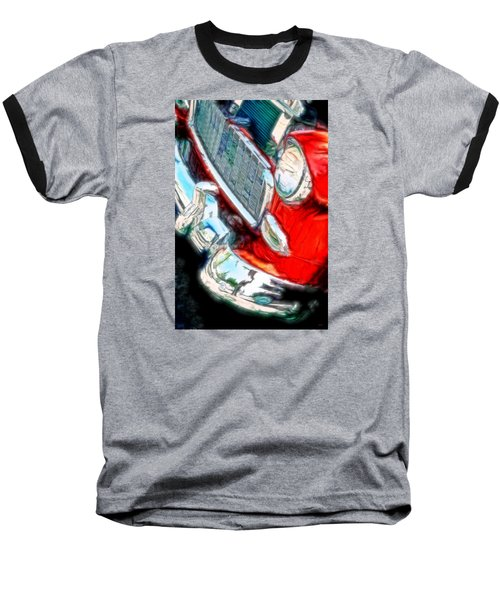 Vintage Chevy Art Alley Cat 3 Red Baseball T-Shirt