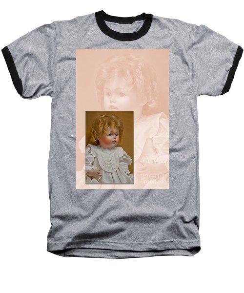 Vintage Doll Beauty Art Prints Baseball T-Shirt by Valerie Garner