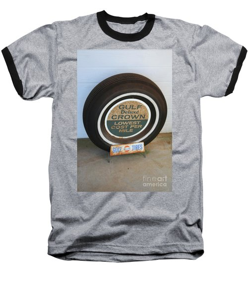 Baseball T-Shirt featuring the photograph Vintage Gulf Tire With Ad Plate by Lesa Fine