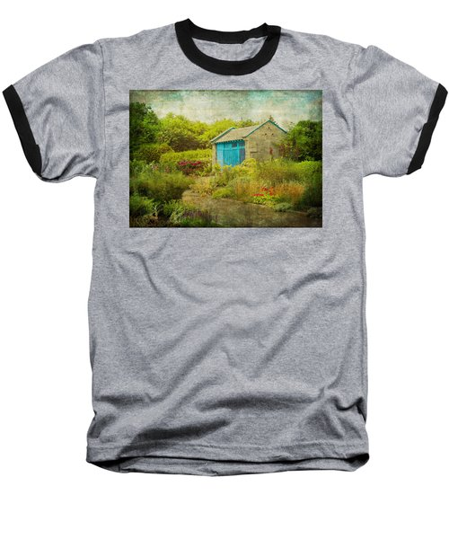 Vintage Inspired Garden Shed With Blue Door Baseball T-Shirt by Brooke T Ryan