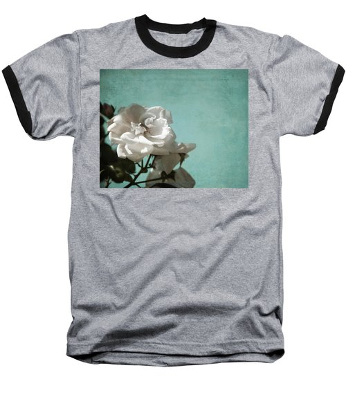Baseball T-Shirt featuring the photograph Vintage Inspired White Roses On Aqua Blue Green - by Brooke T Ryan