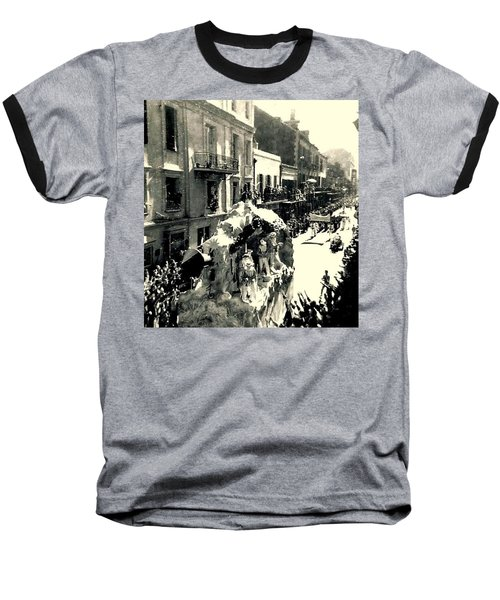 Baseball T-Shirt featuring the photograph New Orleans Vintage Mardi Gras In The French Quarter Of  Louisiana  1960 by Michael Hoard