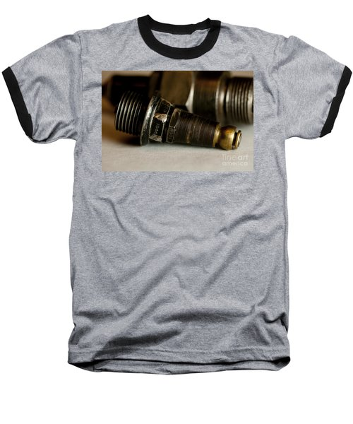 Baseball T-Shirt featuring the photograph Vintage Motorcycle Spark Plugs by Wilma  Birdwell