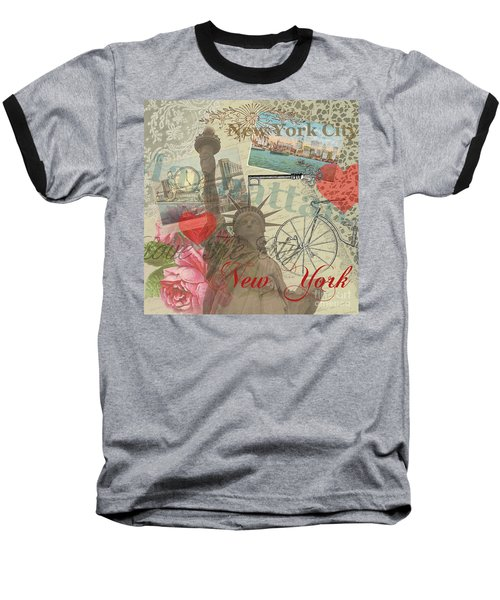 Vintage New York City Collage Baseball T-Shirt