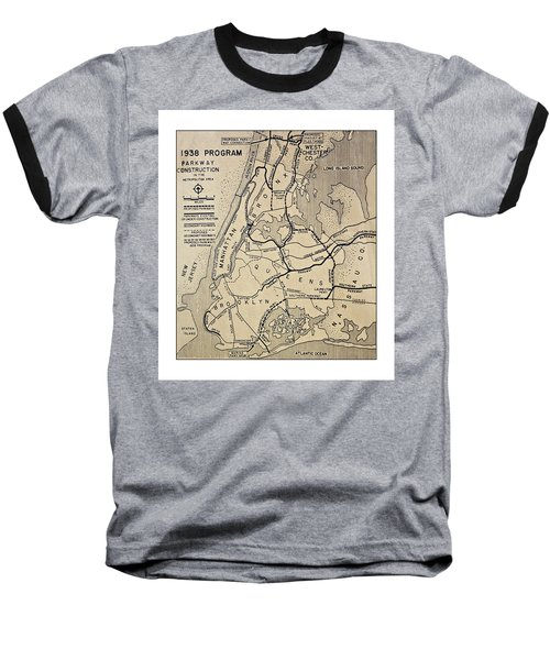 Vintage Newspaper Map Baseball T-Shirt