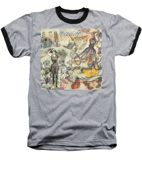 Vintage Octopus And Bathing Beauties Baseball T-Shirt