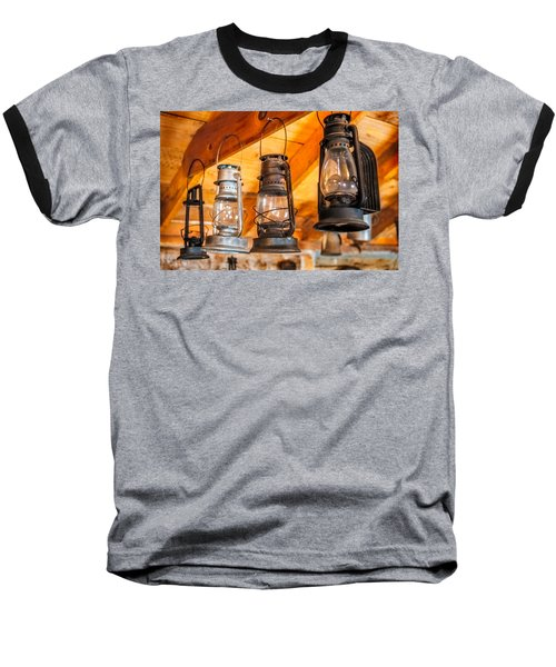 Vintage Oil Lanterns Baseball T-Shirt by Paul Freidlund