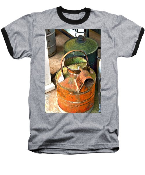 Baseball T-Shirt featuring the photograph Vintage Orange And Green Galvanized Containers by Lesa Fine