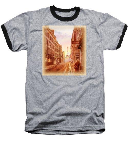 Baseball T-Shirt featuring the painting Vintage Paris Street Eiffel Tower View by Irina Sztukowski