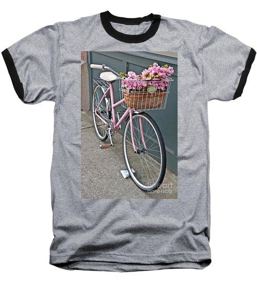 Vintage Pink Bicycle With Pink Flowers Art Prints Baseball T-Shirt by Valerie Garner