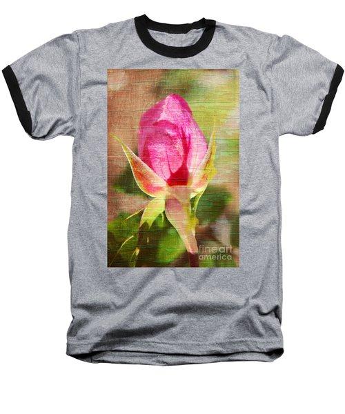 Baseball T-Shirt featuring the photograph Vintage Pink Rose Bud by Judy Palkimas