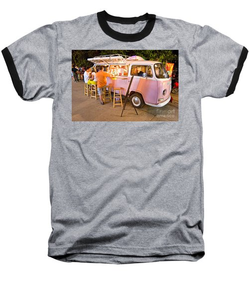 Vintage Pink Volkswagen Bus Baseball T-Shirt by Luciano Mortula