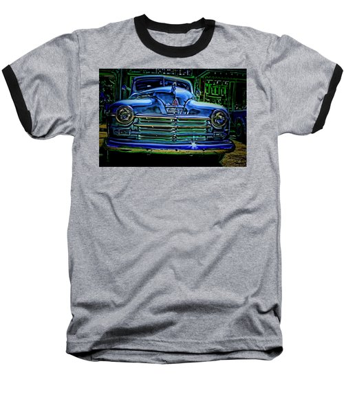 Vintage Plymouth Navy Metalic Art Baseball T-Shirt