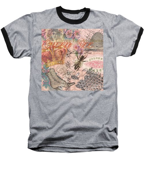 Vintage Queen Bee Collage  Baseball T-Shirt