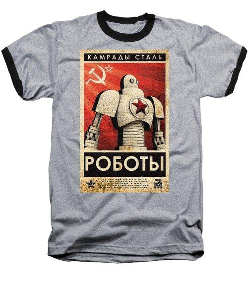 Vintage Russian Robot Poster Baseball T-Shirt by R Muirhead Art