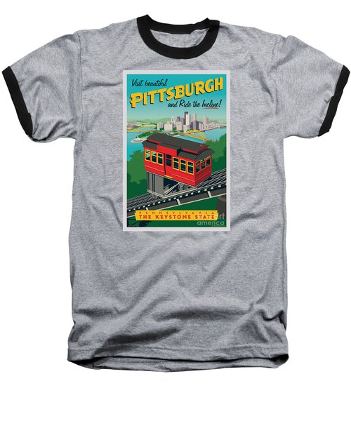 Vintage Style Pittsburgh Incline Travel Poster Baseball T-Shirt by Jim Zahniser
