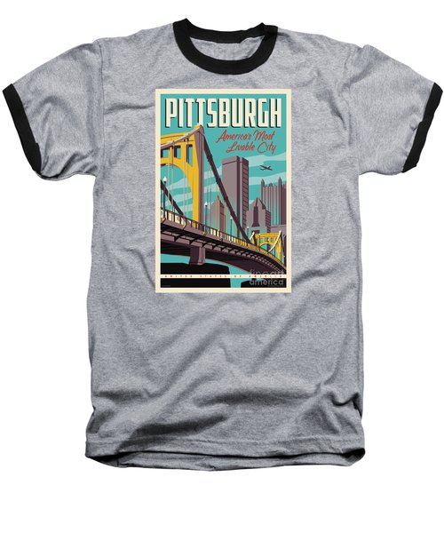 Vintage Style Pittsburgh Travel Poster Baseball T-Shirt by Jim Zahniser