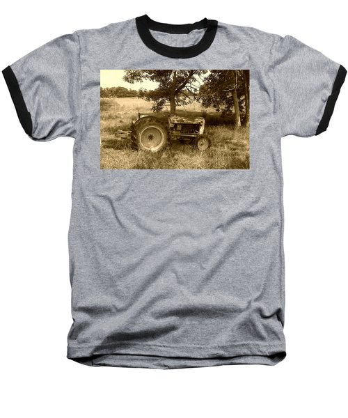 Vintage Tractor In Sepia Baseball T-Shirt by Cynthia Lassiter
