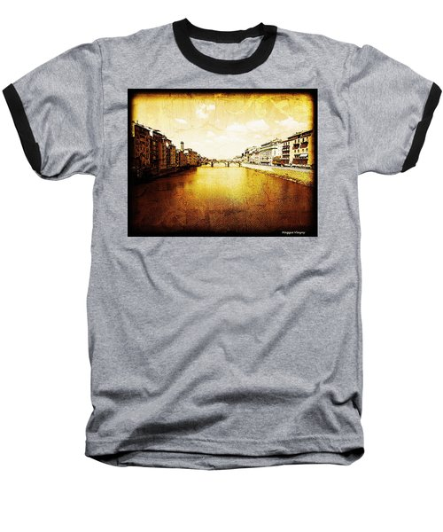 Vintage View Of River Arno Baseball T-Shirt