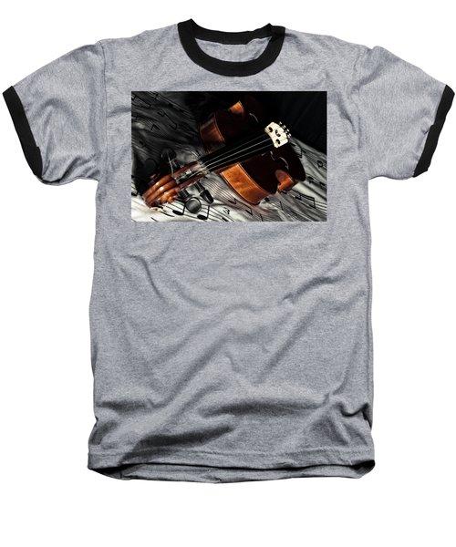 Vintage Violin Baseball T-Shirt by Mike Santis