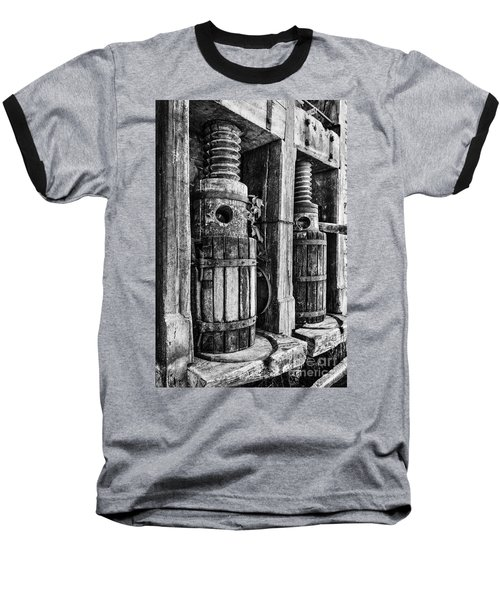 Vintage Wine Press Bw Baseball T-Shirt