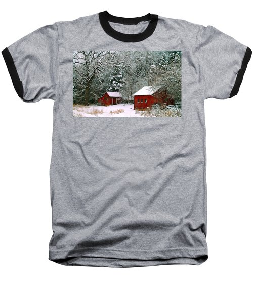 Vintage Winter Barn  Baseball T-Shirt